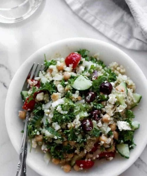Greek Quinoa & Chickpea Salad seen from the top