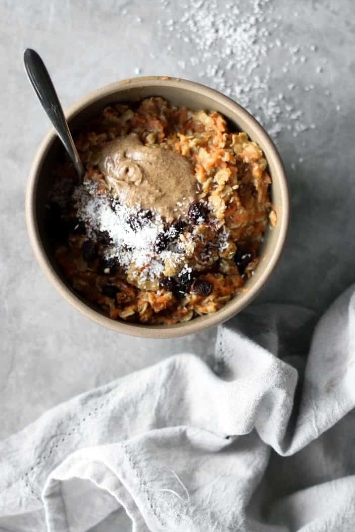 Cozy Carrot Cake Oatmeal seen from the top in a bowl