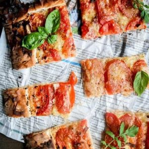 Slices of Julie-Ann's Tomato Tart seen from the top