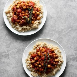 Two plates of Basic Spiced Chickpea Stew