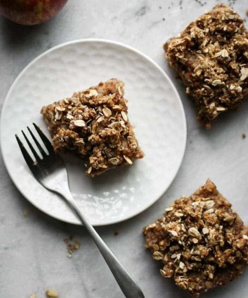 Apple Crumble Bars on a plate from the top