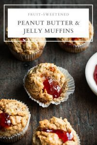 fruit-sweetened peanut butter and jelly muffins pin