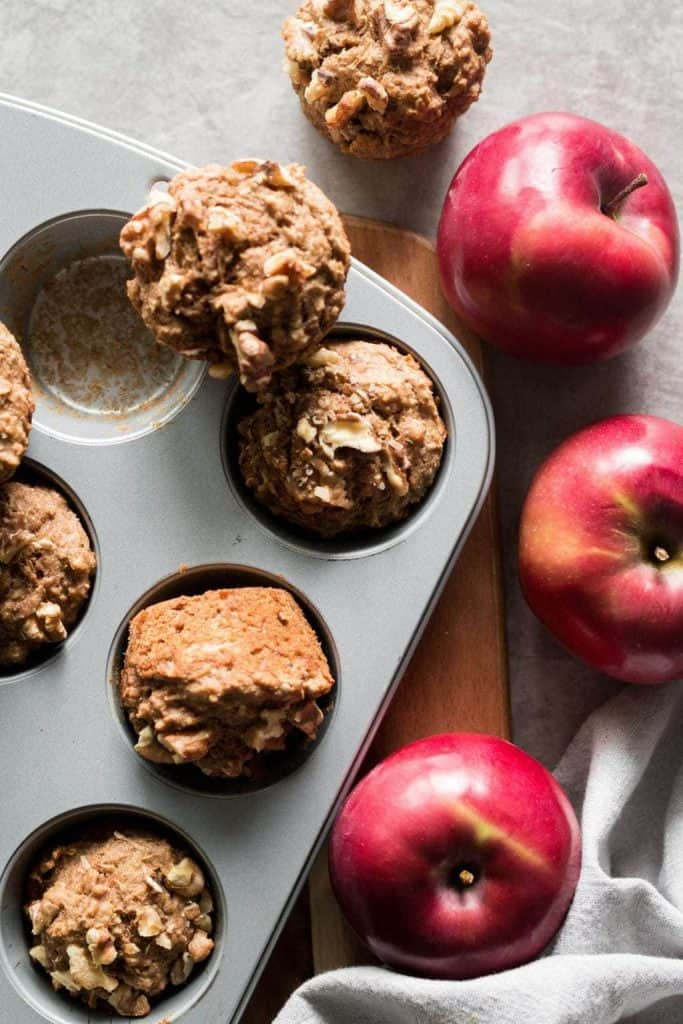 apple muffins in a pan