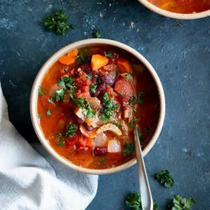 Italian soup in a bowl from the top