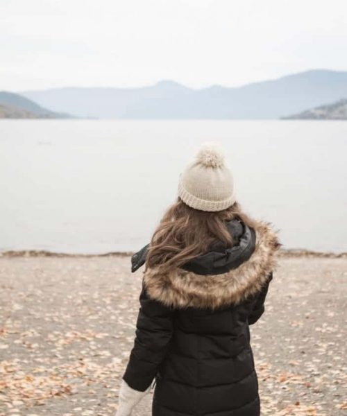 girl on the beach in winter