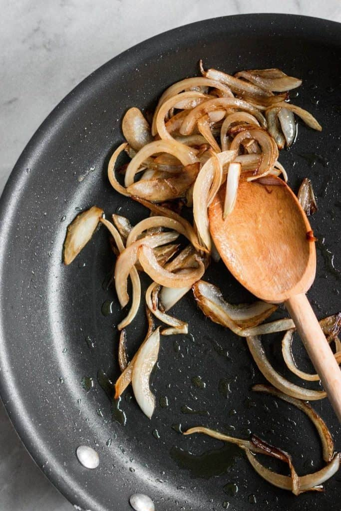 caramelized onions in a skillet