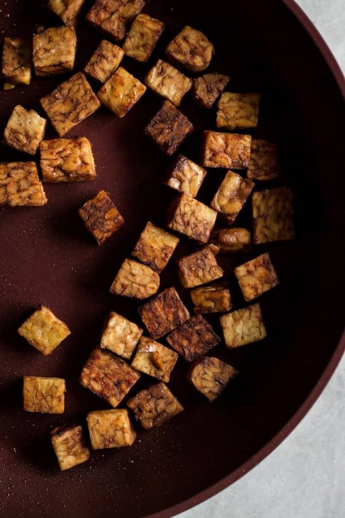 cubes of marinated tempeh