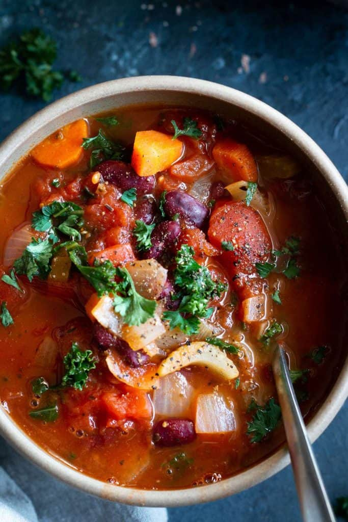 Italian bean and vegetables soup from the top