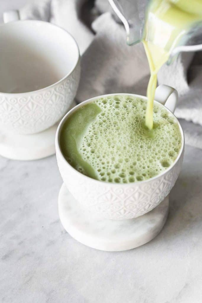 matcha poured into a cup