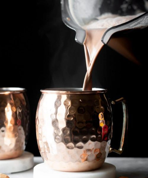 hot cocoa poured in mug