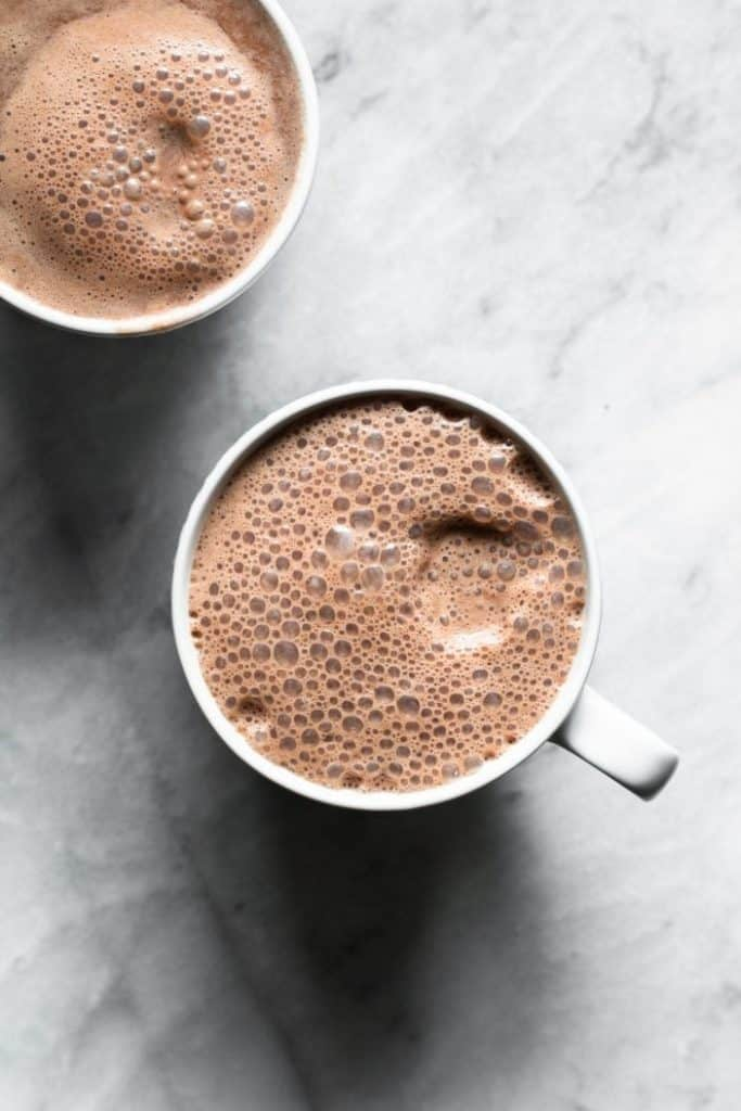 almond hot cocoa from the top