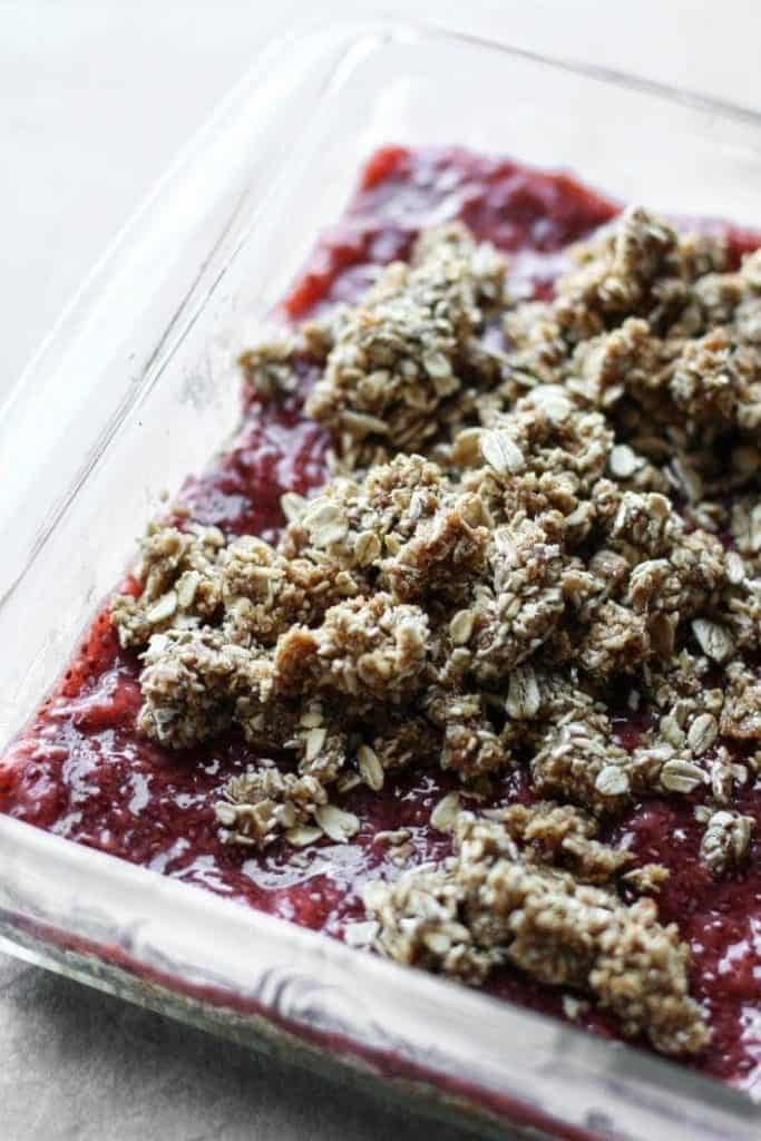 strawberry crumble in a dish
