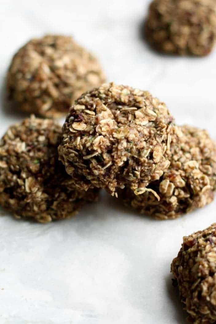 oatmeal zucchini cookies from the top