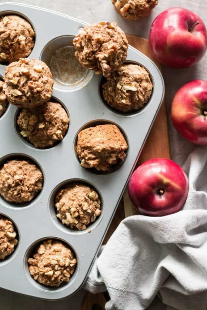 apple muffins in pan
