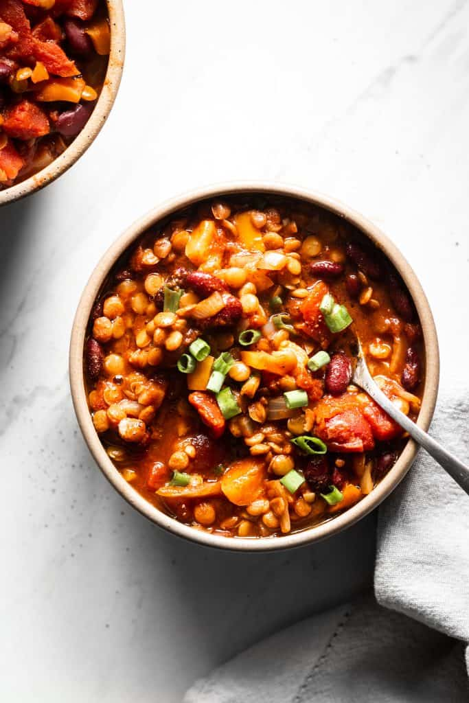 pantry vegetarian chili in a bowl from the top