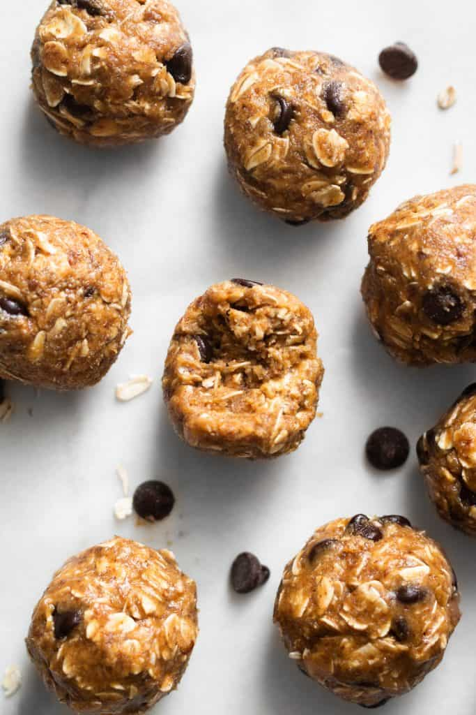 peanut butter energy bites from the top