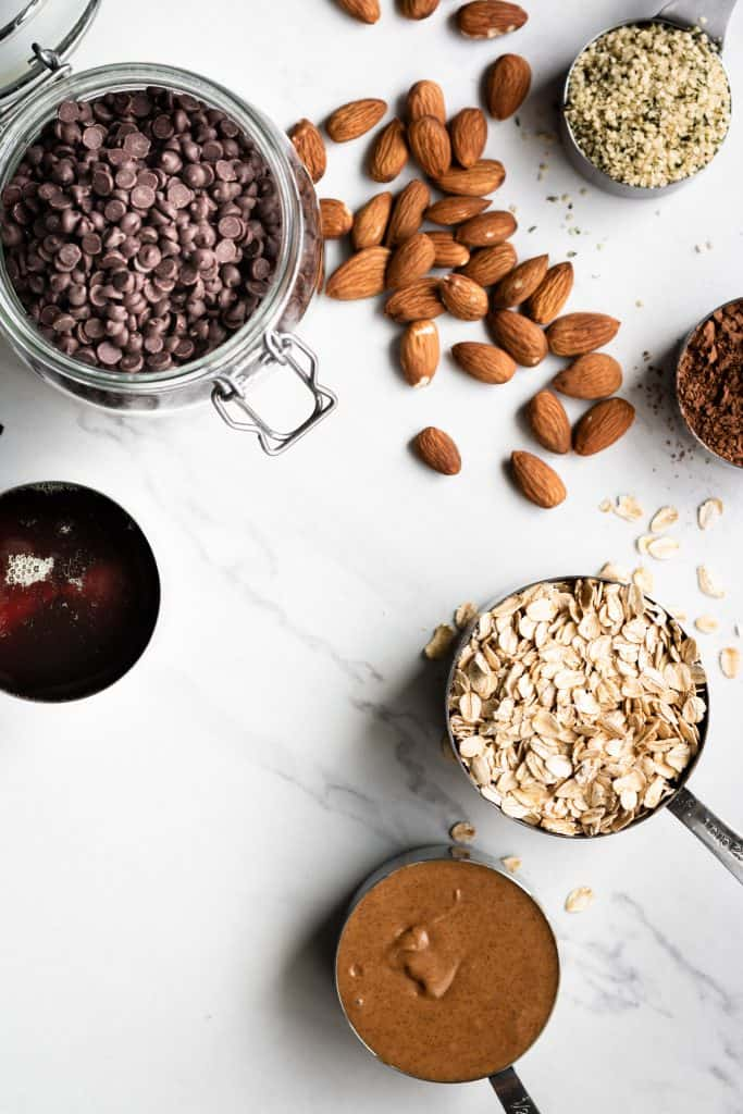 granola ingredients from the top