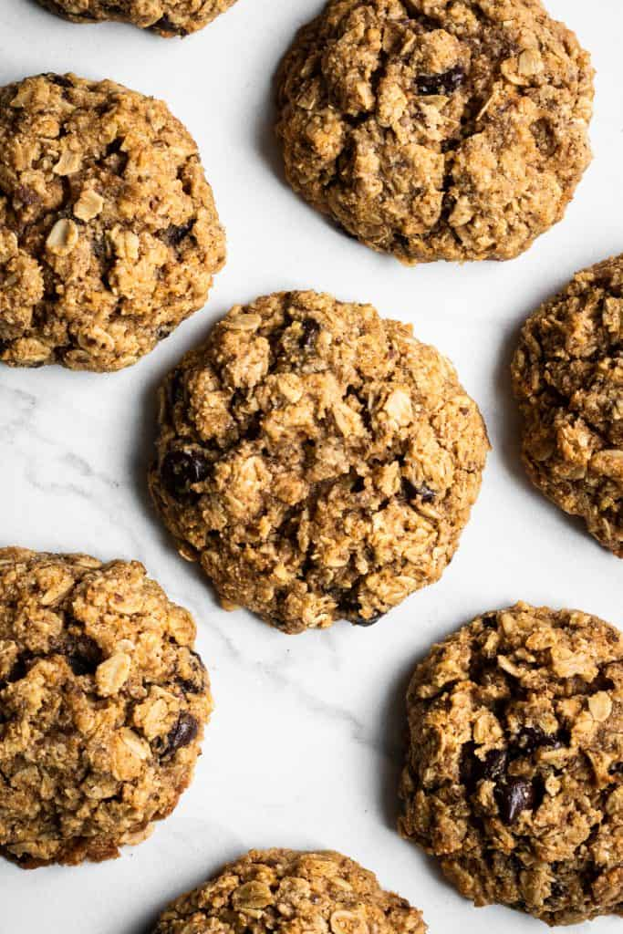 oatmeal pumpkin chocolate chip cookies from the top