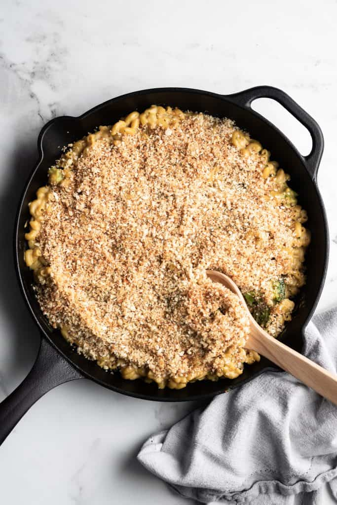 vegan mac and cheese in a cast-iron skillet