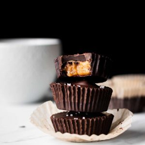 peanut butter cups in a stack from the side