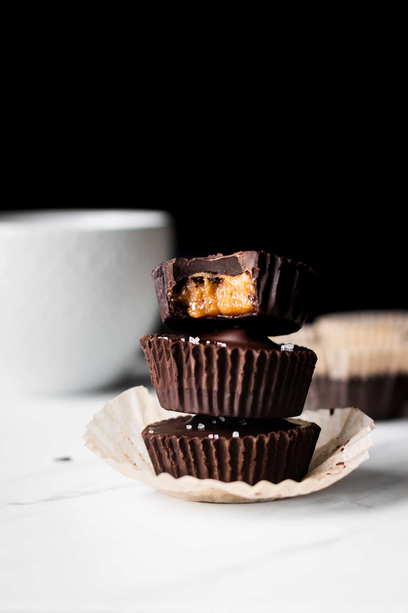 chocolate caramel peanut butter cups stacked