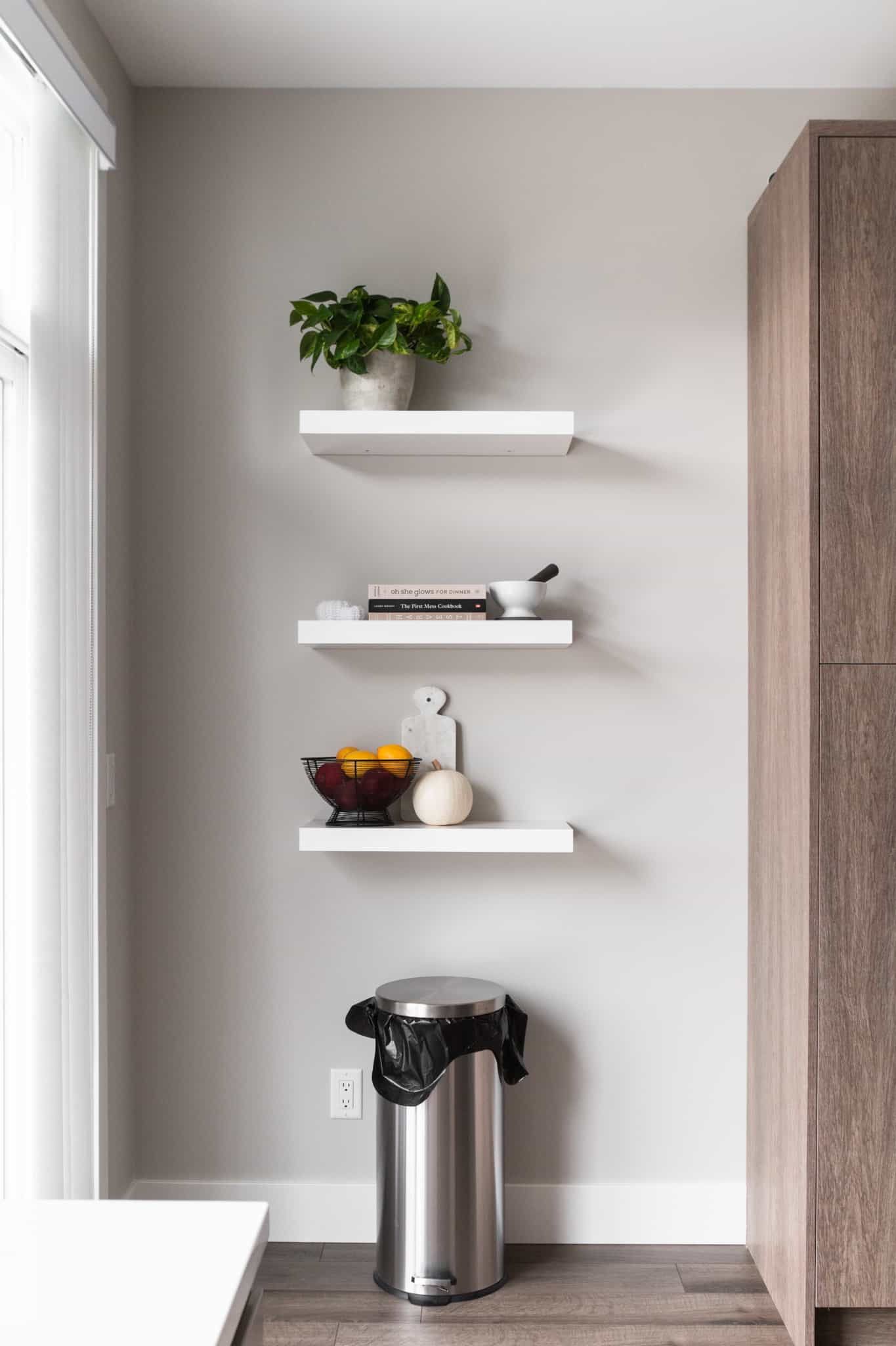 decorated floating shelves