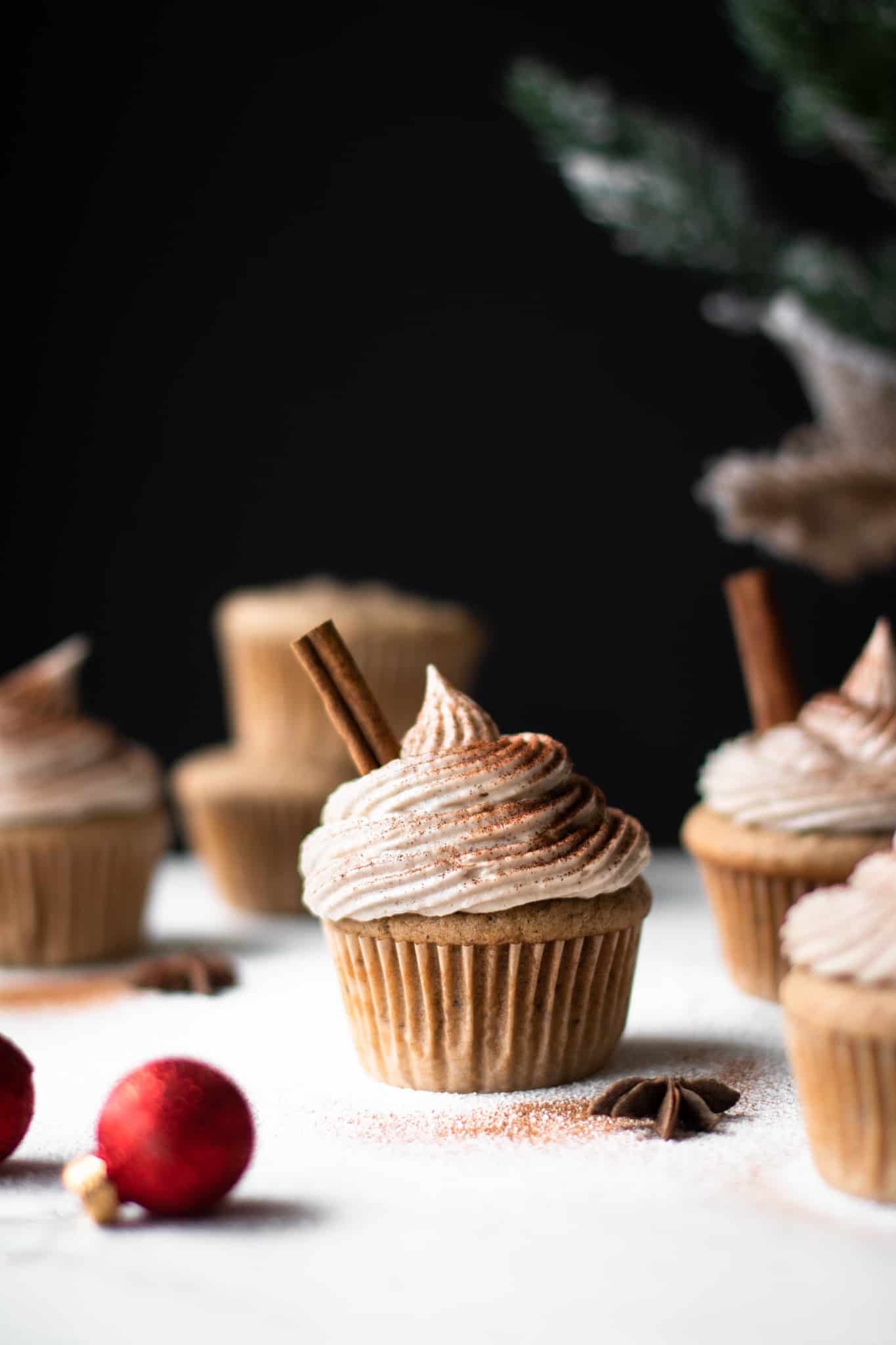 Decorated chai cupcakes from the side