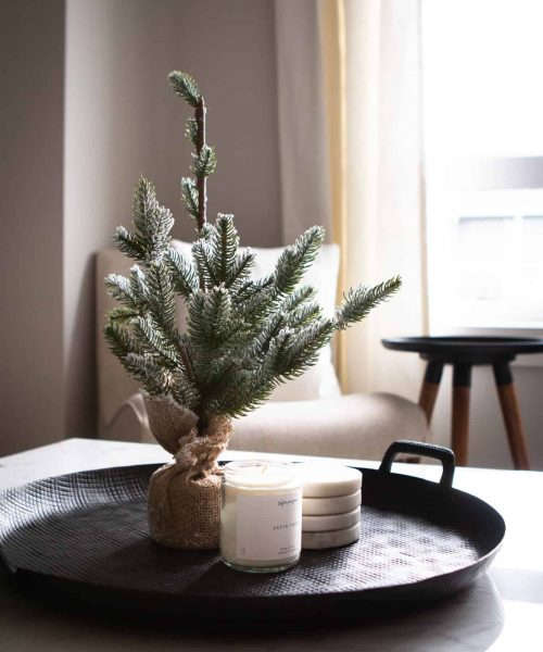 Small pine tree with candle
