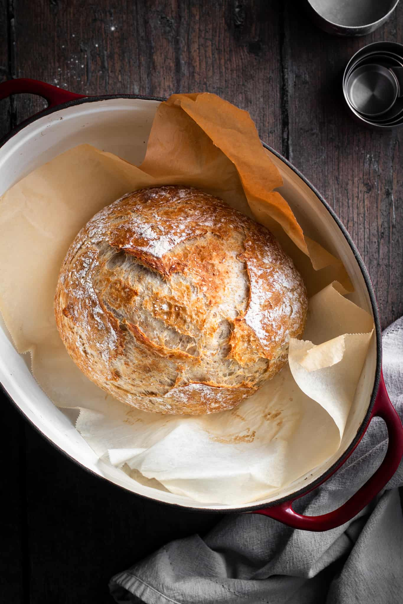 baked bread in a dutch oven