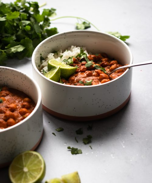 vegan butter chickpea with rice and limes