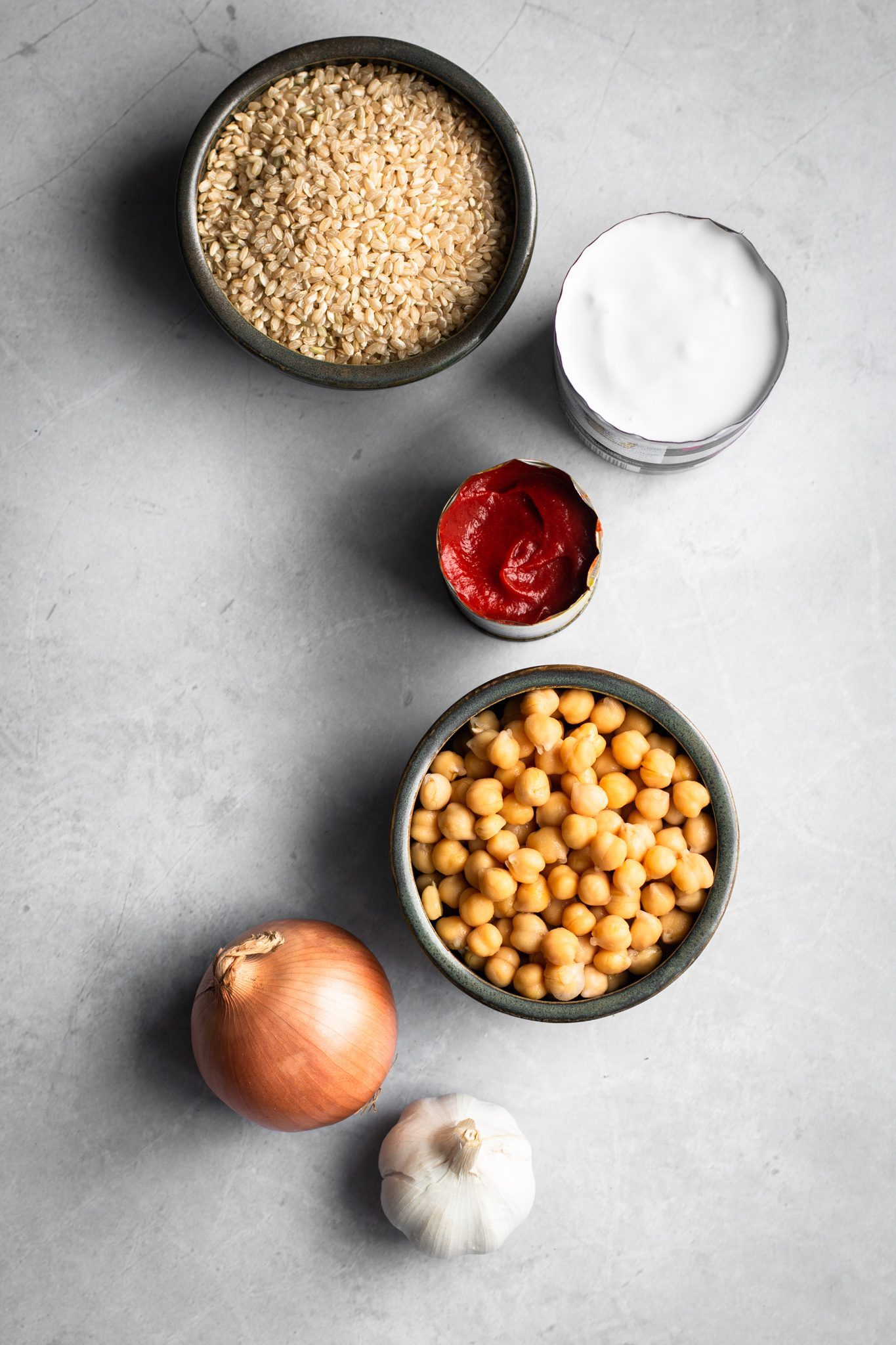 rice, chickpeas, coconut milk, tomato paste, onion and garlic from the top