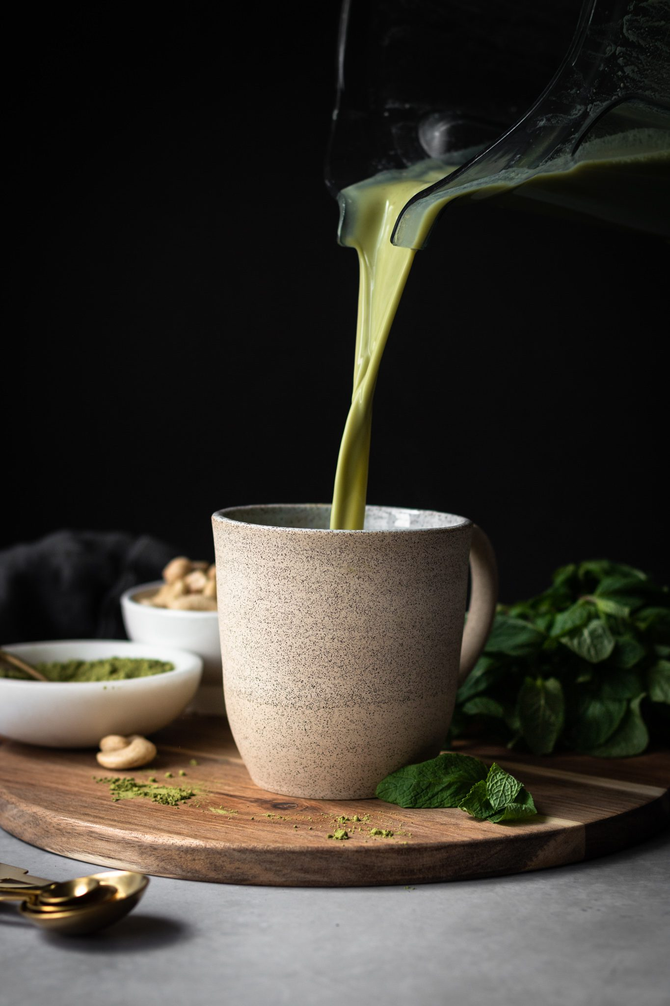 Mint matcha latte poured in a cup