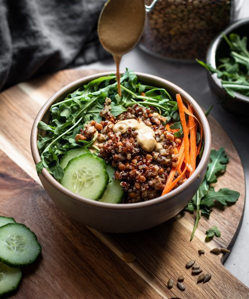 lentil quinoa salad in a bowl