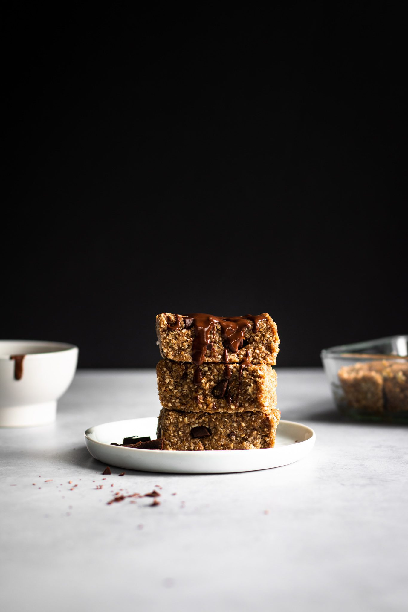 chocolate chunk protein bars on a plate