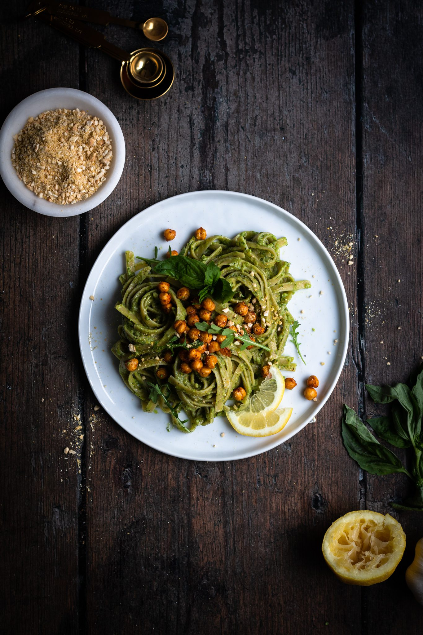 pesto pasta with chickpeas on a plate