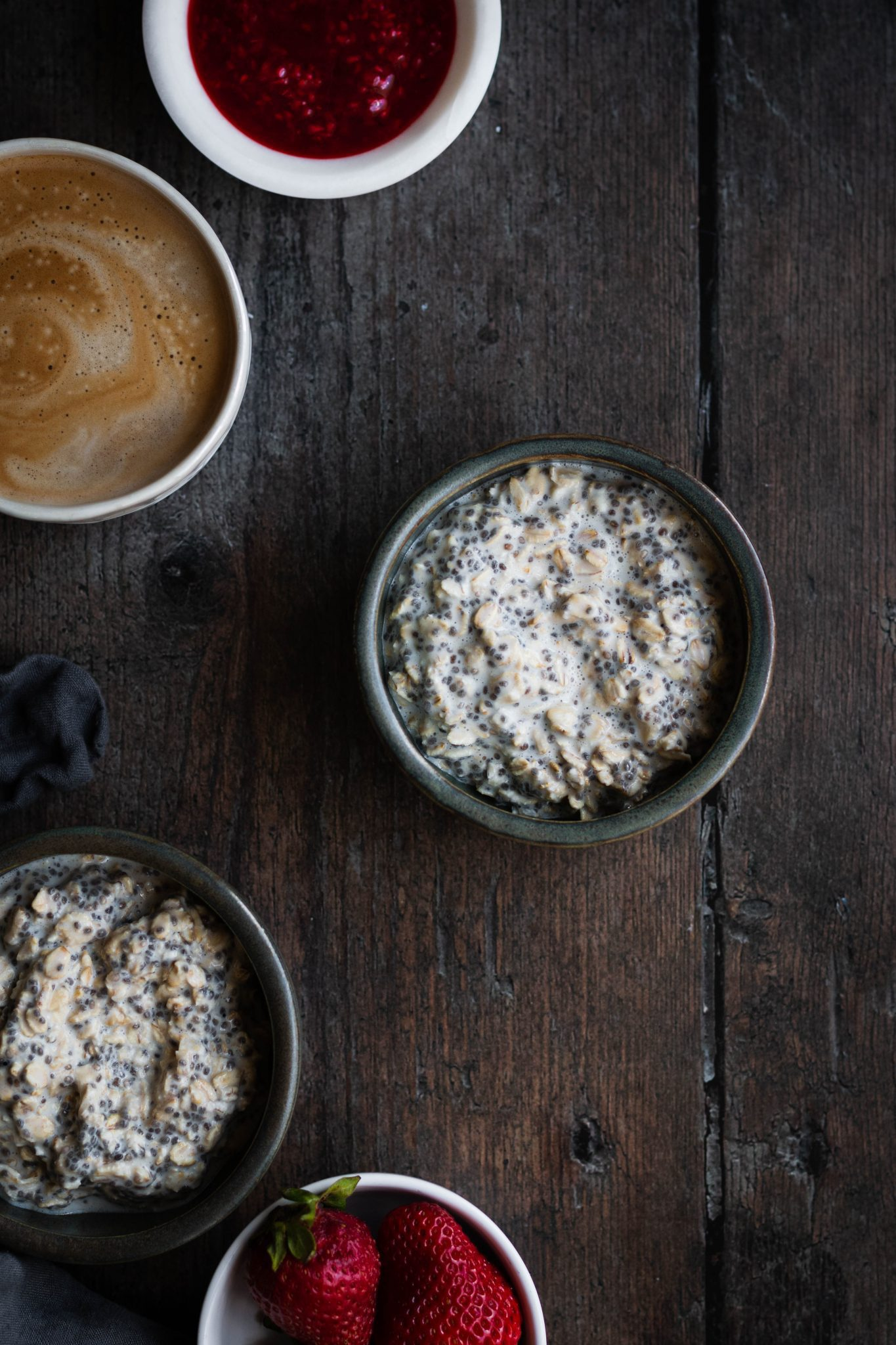 protein overnight oats in a bowl