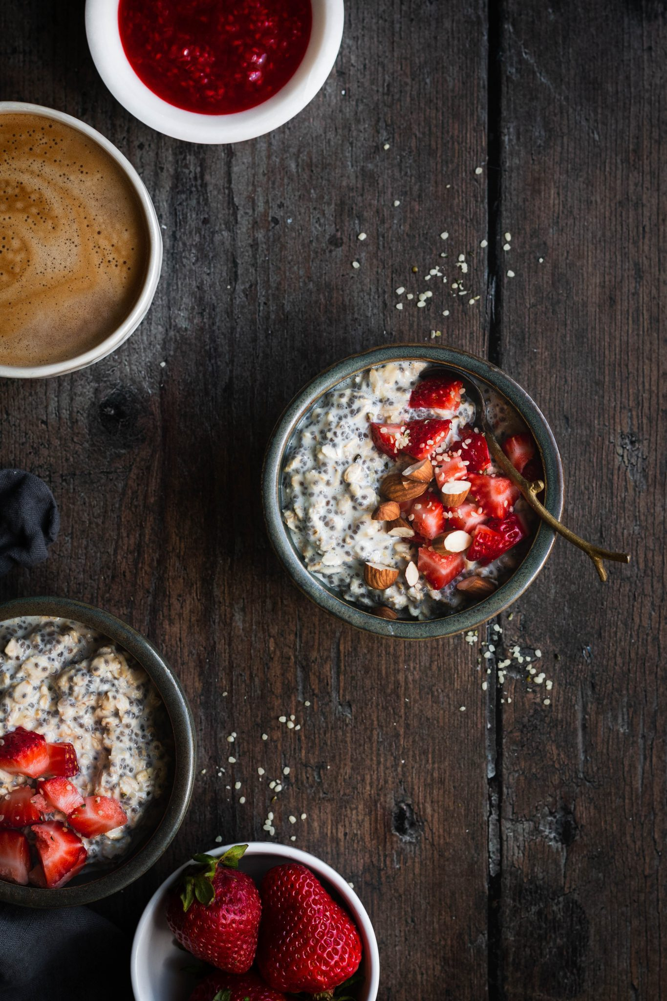 overnight oats in a bowl with berries