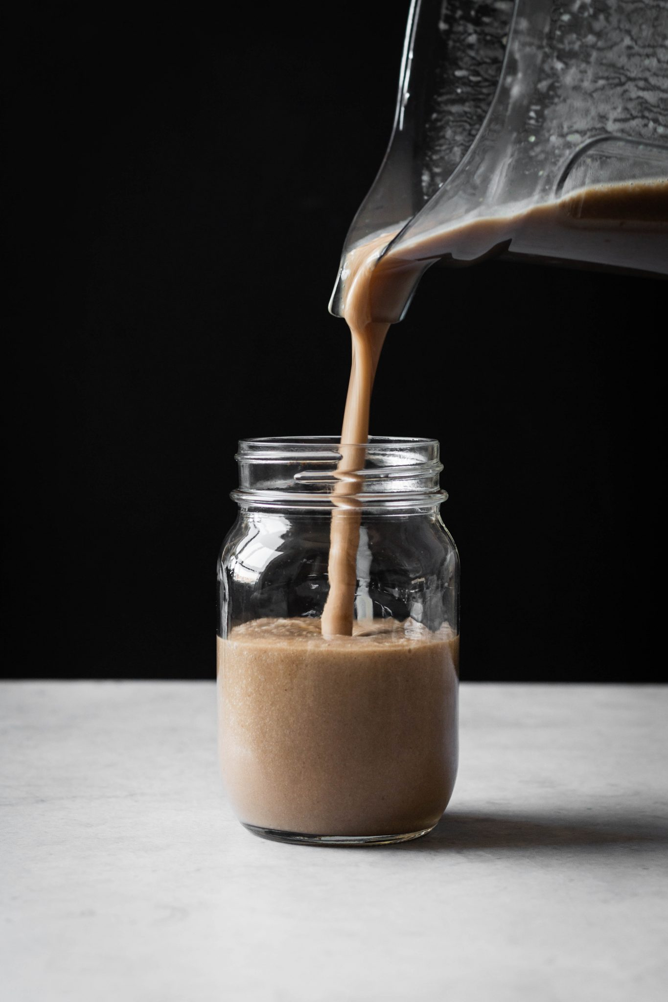 Frappuccino poured in a jar