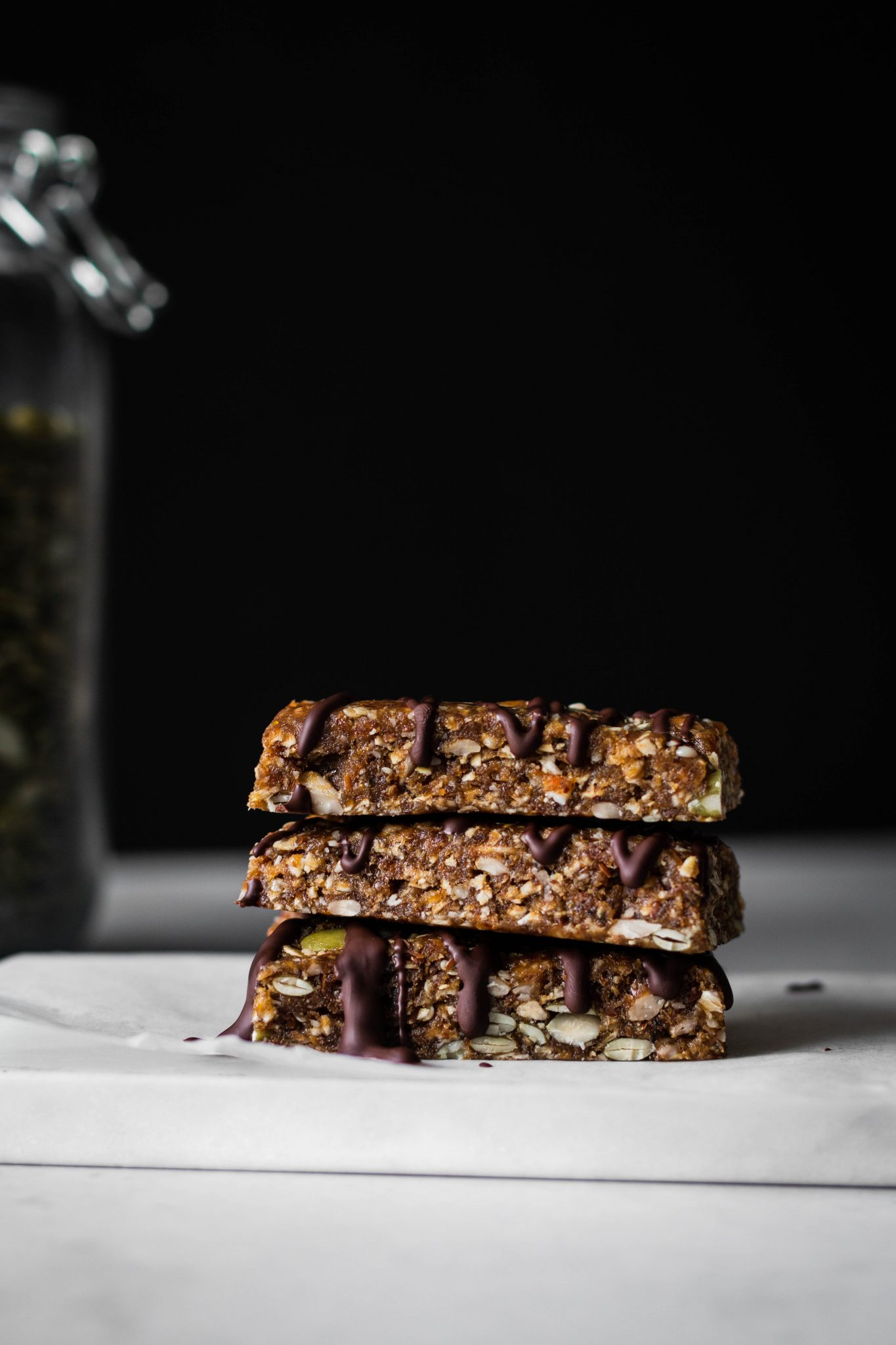 no-bake chewy granola bars stacked