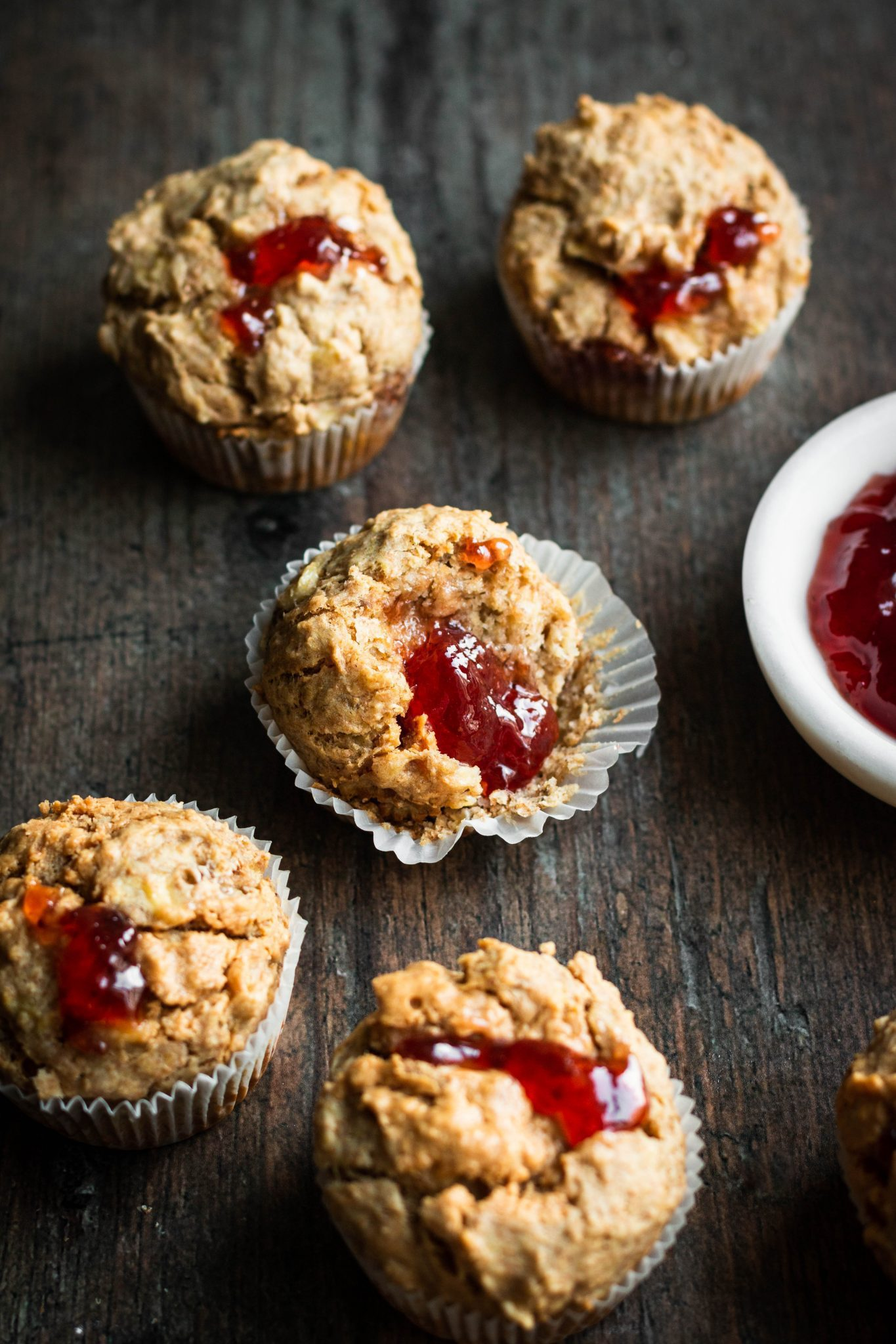 peanut butter and jelly muffins with bite taken