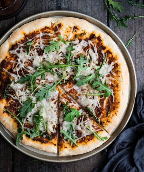 vegan sun-dried tomato pizza from the top